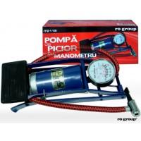 Pompa auto de picior cu manometru Ro Group, otel, 7 bari, adaptoare incluse, 25 x 18 x 2 cm