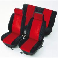 Huse auto pentru scaun, universale, rosu/negru, set 8 bucati, 50 x 33 x 7 cm