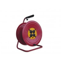Derulator metalic mare, fara cablu, 31-003, 4 prize, 250V 16A AC, contact de protectie