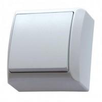 Intrerupator simplu Ospel Bis LN-1B, aparent, rama inclusa, alb