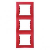 Rama Schneider Electric Sedna SDN5801341, 3 posturi, verticala, rosie, pentru priza / intrerupator