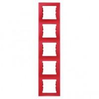 Rama Schneider Electric Sedna SDN5801541, 5 posturi, verticala, rosie, pentru priza / intrerupator