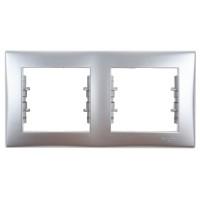 Rama Schneider Electric Sedna SDN5800360, 2 posturi, orizontala, aluminiu, pentru priza / intrerupator