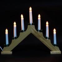 Decoratiune arc cu 7 becuri, Hoff, lemn, alimentare priza