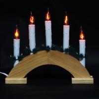 Decoratiune arc cu 5 becuri, Hoff, lemn, alimentare priza