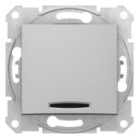 Intrerupator simplu cu indicator luminos Schneider Electric Sedna SDN1400160, incastrat, aluminiu