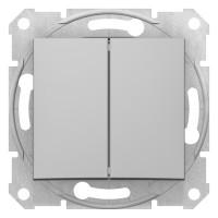 Intrerupator dublu Schneider Electric Sedna SDN0300160, incastrat, aluminiu