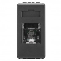Priza telefon System SY/BK GW21251-1BL, RJ11, incastrata, modulara - 1 m, neagra