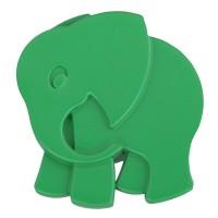 Buton pentru mobila, plastic, verde, forma elefant