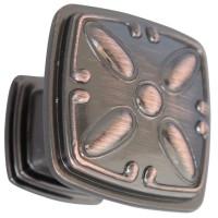 Buton pentru mobila, metalic, cupru antic, 31 x 25 mm