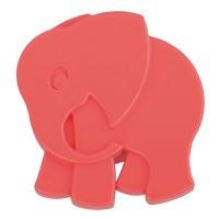 Buton pentru mobila, plastic, rosu mat, forma elefant