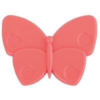 Buton pentru mobila, plastic, rosu mat, forma fluture