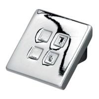 Buton pentru mobila, metalic, crom lucios, 28 x 20 mm