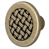 Buton pentru mobila, metalic, alamit antic