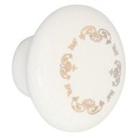 Buton pentru mobila, portelan ivoire, model auriu, 32 x 23 mm