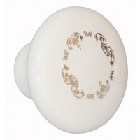 Buton pentru mobila, portelan ivoire, model auriu, 27 x 37 mm