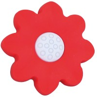 Buton pentru mobila, plastic, rosu,  forma floare