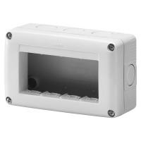 Cadru aparent Gewiss GW27004, 4 module, IP40, gri, pentru priza / intrerupator