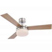 Lustra cu ventilator si telecomanda, 3 viteze, Alana 0333, 2 x E14, lemn natur / argintiu