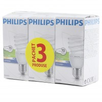 Bec economic Philips Tornado spiralat E27 15W 900lm lumina rece 6500 K, 3 buc