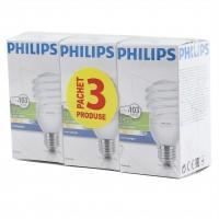 Bec economic Philips Tornado spiralat E27 23W 1450lm lumina rece 6500 K, 3 buc