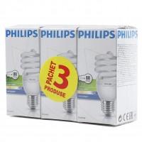 Bec economic Philips Tornado spiralat E27 20W 1200lm lumina rece 6500 K, 3 buc