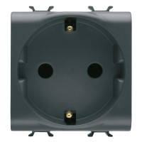Priza simpla Gewiss GW12241-1BL, incastrata, modulara - 2, contact de protectie, neagra