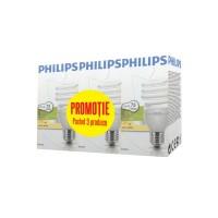 Bec economic E27 Philips Tornado spiralat 15W lumina calda, 3 buc
