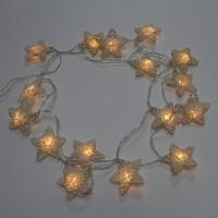 Instalatie stele ratan brad Craciun, Hoff, 16 LED-uri cu lumina alba calda, 2.25 m, interior