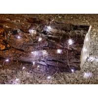 Instalatie Craciun, Hoff, 20 LED-uri albe cu lumina rece, cu fir cupru si alimentare baterii