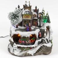 Decoratiune muzicala cu biserica si tren, 3 LED-uri si fibra, Hoff, alimentare priza