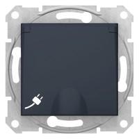 Priza simpla Schneider Electric Sedna SDN3100170, incastrata, contact de protectie, capac, grafit