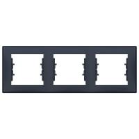 Rama Schneider Electric Sedna SDN5800570, 3 posturi, grafit, pentru priza / intrerupator
