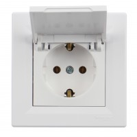 Priza simpla Schneider Electric Asfora EPH3100121, incastrata, rama inclusa, contact de protectie, alba
