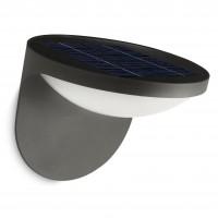 Aplica solara LED Philips Dusk 17807/93/16, 1W, 100lm, lumina calda, aluminiu, antracit, IP44
