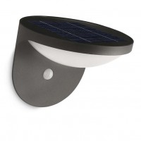 Aplica solara LED Philips Dusk, 1W, cu senzor de miscare, aluminiu, 13.6 cm, lumina calda