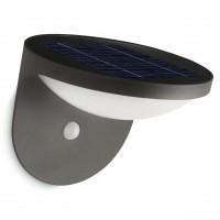 Aplica solara LED Philips Dusk, 1W, 100lm, lumina calda, cu senzor de miscare, aluminiu, antracit, IP44