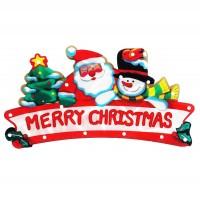 Decoratiune geam Merry Christmas cu 20 LED-uri, Hoff, alimentare baterii