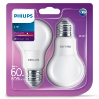 Bec LED Philips clasic A60M E27 8W 806lm lumina calda 2700 K - 2 buc