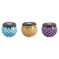 Decoratiune solara LED Hoff, candela, plastic, mozaic, H 9 cm, diverse culori