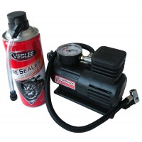Pachet compresor + spray Veslee, pentru umflat anvelope, 12V/250 psi, 18 Bari