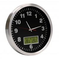 Ceas de perete AWC 30T, analog / digital, rotund, cu termometru interior - exterior