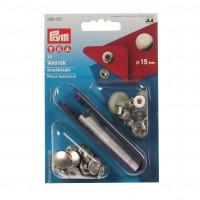 Set capse 15 mm, pentru hanorace + dispozitiv montare, Prym 114390 301