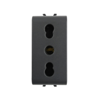 Priza simpla Gewiss GW12203-1BL CH TN 16A, incastrata, modulara - 1, contact de protectie, neagra