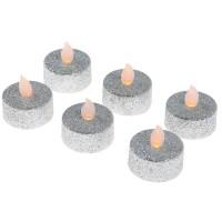 Lumanare argintie cu LED, Hoff, 6 buc, alimentare baterii