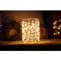 Instalatie brad Craciun, Hoff, 100 micro-LED-uri albe cu lumina calda, 10 m, interior, cu fir cupru