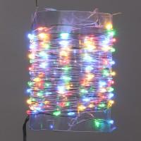 Instalatie brad Craciun, Hoff, 100 micro-LED-uri multicolore, 10 m, interior, cu fir cupru