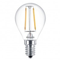 Bec LED Philips mini P45 E14 2W 250lm lumina calda 2700 K, cu filament
