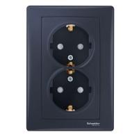 Priza dubla Schneider Electric Sedna SDN3000470 incastrata, rama inclusa,  contact de protectie, grafit