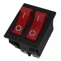 Intrerupator pe fir, dublu, cu indicator luminos, Adeleq 02-546, incastrat, rosu cu negru